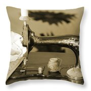 Vintage Notions In Sepia Tones Throw Pillow