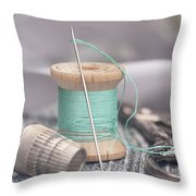 Vintage Notions Over Wood Background Throw Pillow
