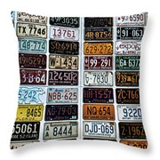 Vintage Number Plates Throw Pillow