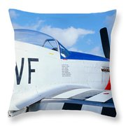 Vintage P51 Fighter Aircraft, Burnet Throw Pillow
