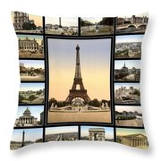 Vintage Paris 1900 Throw Pillow by Andrew Fare