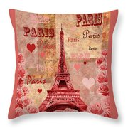 Vintage Paris And Roses Throw Pillow