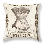 Vintage Paris Corsette Sign Throw Pillow