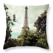 Vintage Paris Landscape Throw Pillow