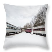 Vintage Passenger Train Cars In Winter Throw Pillow