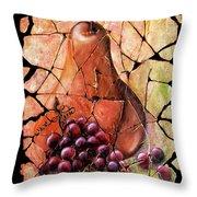 Vintage  Pear And Grapes Fresco   Throw Pillow
