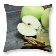 Vintage Photo Of Green Apples Throw Pillow