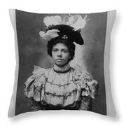 Vintage Photo Of Young Pretty Colored Lady Throw Pillow