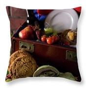 Vintage Picnic With A Splash Of Color Throw Pillow