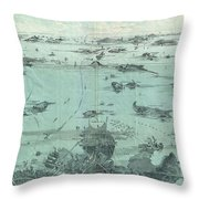 Vintage Pictorial Map Of Boston Harbor  Throw Pillow