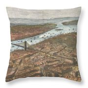 Vintage Pictorial Map Of Brooklyn And Nyc  Throw Pillow