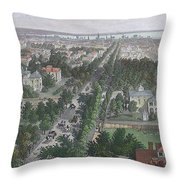 Vintage Pictorial Map Of Buffalo Ny - 1872 Throw Pillow