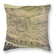 Vintage Pictorial Map Of El Paso Texas - 1886 Throw Pillow