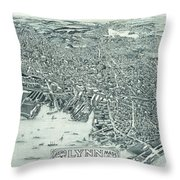 Vintage Pictorial Map Of Lynn Massachusetts - 1916 Throw Pillow