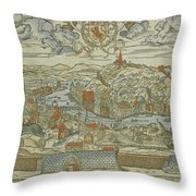 Vintage Pictorial Map Of Lyon France - 1555 Throw Pillow