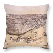 Vintage Pictorial Map Of New Orleans - 1851 Throw Pillow