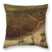 Vintage Pictorial Map Of New Orleans - 1885 Throw Pillow