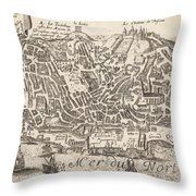 Vintage Pictorial Map Of New York City - 1672 Throw Pillow