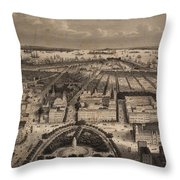 Vintage Pictorial Map Of New York City - 1840 Throw Pillow