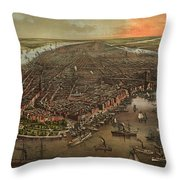 Vintage Pictorial Map Of New York City - 1873 Throw Pillow