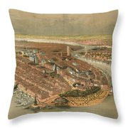 Vintage Pictorial Map Of New York City - 1874 Throw Pillow