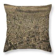 Vintage Pictorial Map Of Newark Nj - 1874 Throw Pillow