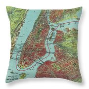 Vintage Pictorial Map Of Of New York City - 1909 Throw Pillow