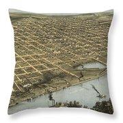 Vintage Pictorial Map Of Omaha Nebraska - 1868 Throw Pillow
