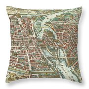 Vintage Pictorial Map Of Paris - 1615 Throw Pillow