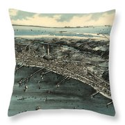 Vintage Pictorial Map Of Provincetown - 1910 Throw Pillow