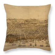 Vintage Pictorial Map Of San Francisco - 1868 Throw Pillow