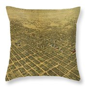 Vintage Pictorial Map Of San Jose Ca - 1901 Throw Pillow