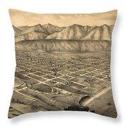 Vintage Pictorial Map Of Santa Barbara Ca - 1877 Throw Pillow