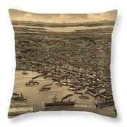 Vintage Pictorial Map Of Seattle - 1884 Throw Pillow