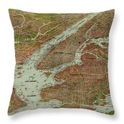 Vintage Pictorial Map Of The Nyc Area - 1912 Throw Pillow