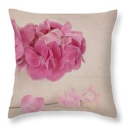 Vintage Pink Hydrangea Throw Pillow