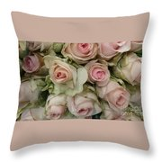 Vintage Pink Roses Throw Pillow by Lynn Jackson