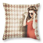 Vintage Pinup Fashion Model In Womens Sunglasses Throw Pillow