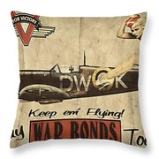 Vintage Pinup Warbond Ad Throw Pillow