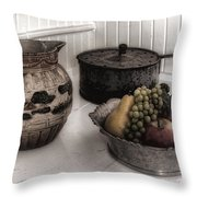 Vintage Pitcher, Pan, And Fruit Bowl Throw Pillow