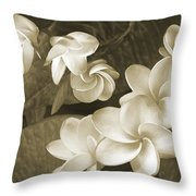 Vintage Plumeria Throw Pillow