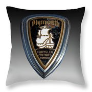 Vintage Plymouth Car Emblem Throw Pillow