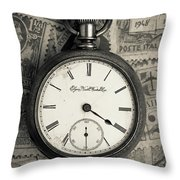 Vintage Pocket Watch Throw Pillow