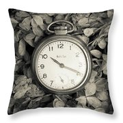 Vintage Pocket Watch Over Flowers Throw Pillow