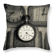 Vintage Pocket Watch Over Old Clocks Throw Pillow