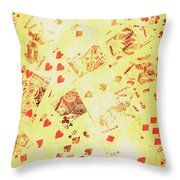 Vintage Poker Background Throw Pillow