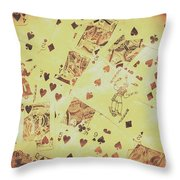 Vintage Poker Card Background Throw Pillow
