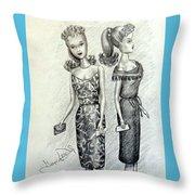 Vintage Ponytail Barbie Throw Pillow