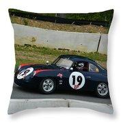 Vintage Porsche 19 Climbing Hill Throw Pillow