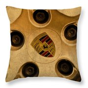 Vintage Porsche Wheel Logo Throw Pillow